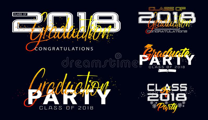 Set. Graduation label. Vector text for graduation design. Congratulation event, party, high school or college graduate. Lettering Class of 2018 for greeting royalty free illustration