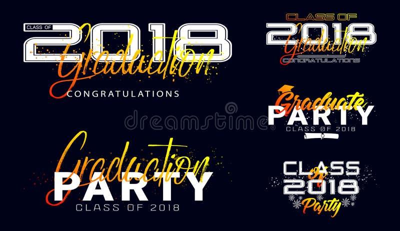 Set. Graduation label. Vector text for graduation design royalty free illustration