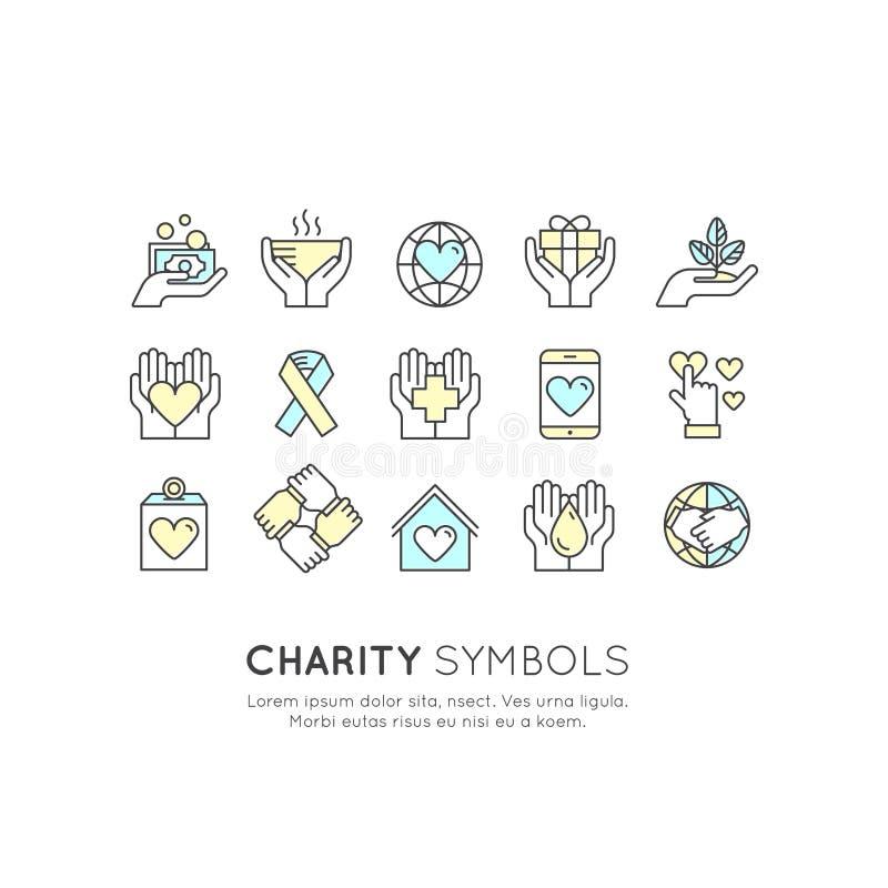 Set Graficzni elementy dla organizacj niekomercyjnych i darowizny Centre Gromadzi fundusze symbole, Crowdfunding projekta etykiet ilustracja wektor