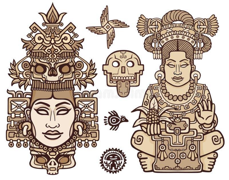 Set graficzni elementy opierający się na motywach sztuka rodowitego amerykanina indianin Kobieta, matka, bogini, królowa, ezotery ilustracja wektor