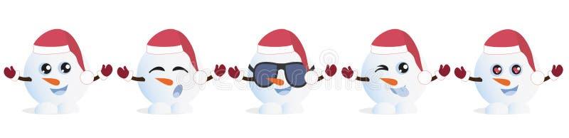 Set Graficzni Emoticons - snowmans Kolekcja emoji Uśmiech ikony royalty ilustracja