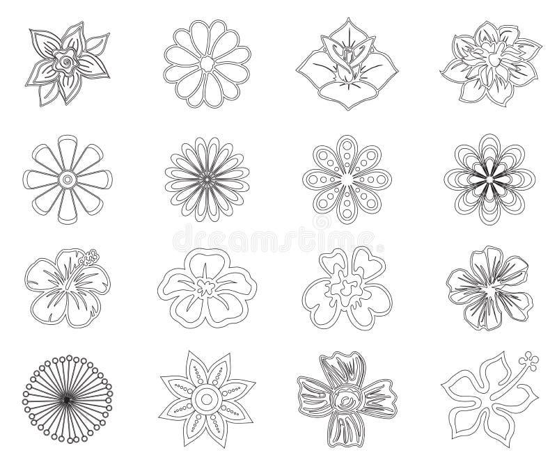 Set graficzni kwiaty royalty ilustracja