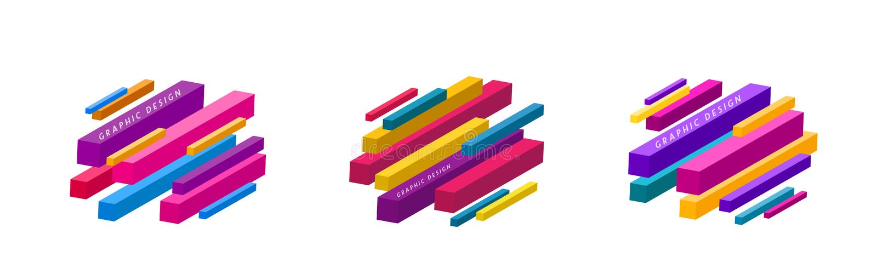 Set grafika kształtuje abstrakcjonistycznego wektorowego tło Minimalny geometryczny linia projekt z diagonalnym kierunkiem royalty ilustracja