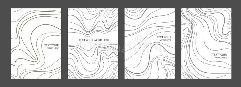 Set 4 grafika pokryw minimalny marmurowy projekt Prosty plakat ilustracji
