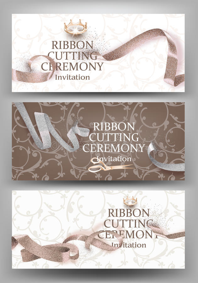 Set of grand opening banners with beige curly sparkling ribbons and floral design background. royalty free illustration