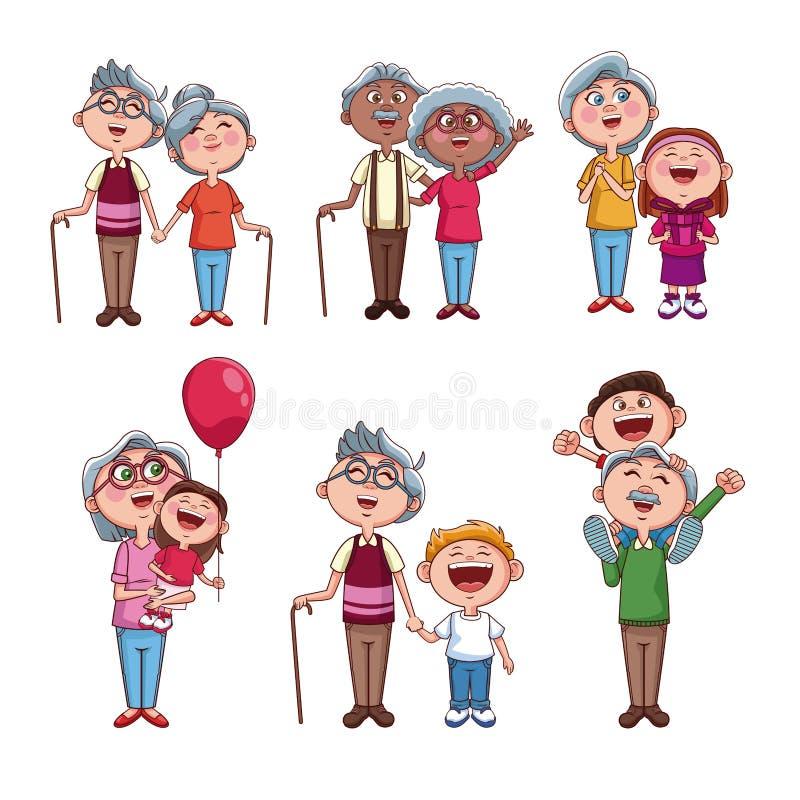 Set of grandparents with kids stock illustration