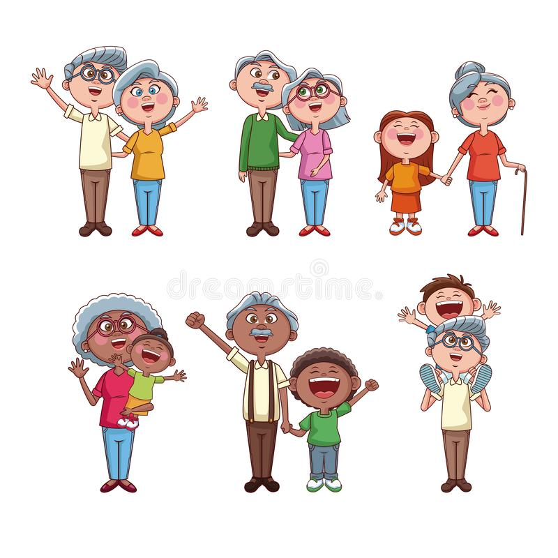 Set of grandparents with kids royalty free illustration