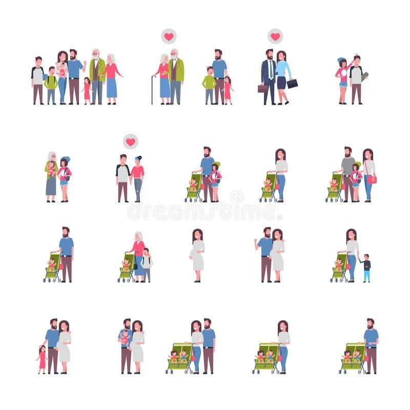 Set grandparents parents children, multi generation family, full length avatar on white background, happy family stock illustration