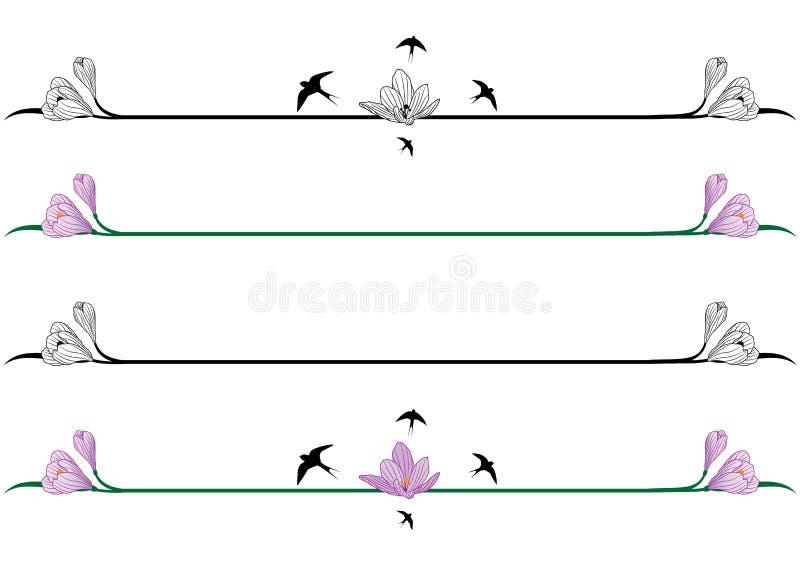 Set granicy z krokusami ilustracja wektor