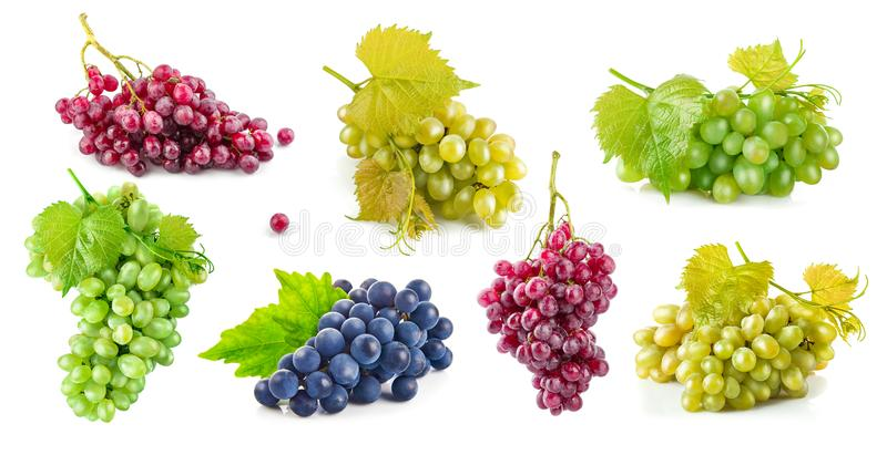 Set grape with green leaves healthy eating, on white background. Stock photo royalty free stock images