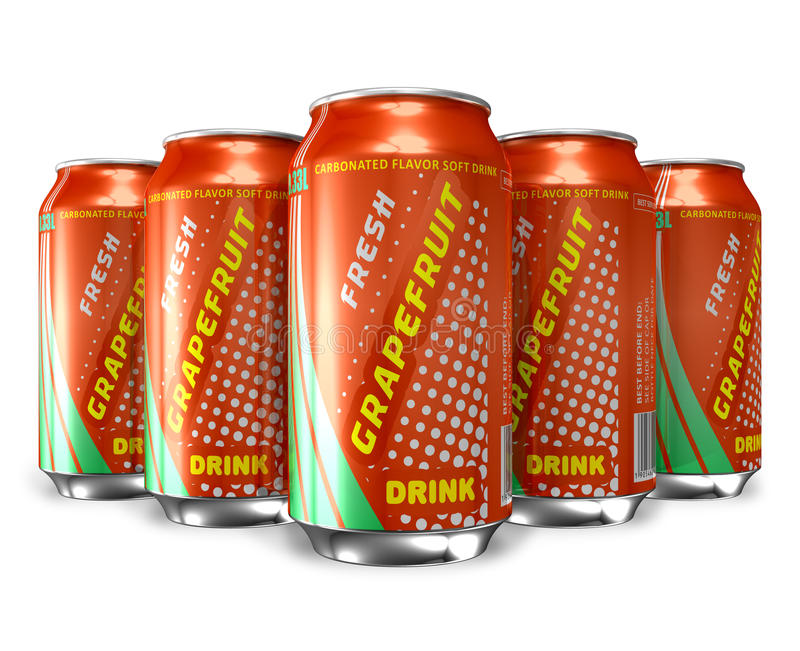 Set Of Grapefruit Soda Drinks In Metal Cans Royalty Free Stock Photography