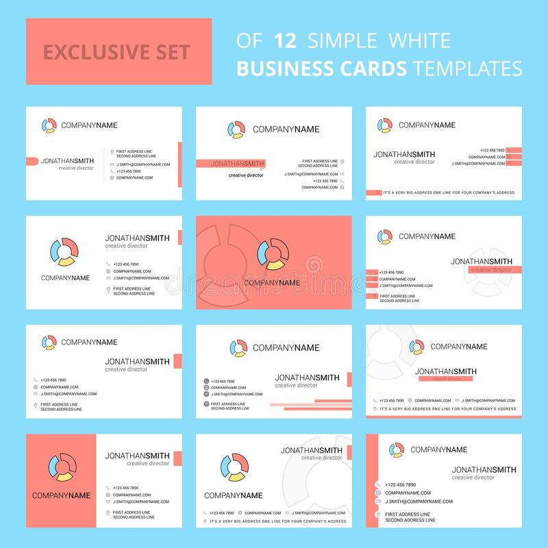 Set of 12 Graph Creative Busienss Card Template. Editable Creative logo and Visiting card background stock illustration