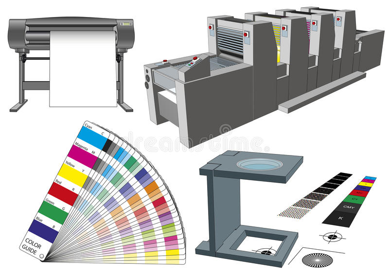 Set of graphic arts tools and machinery for commercial print stock illustration