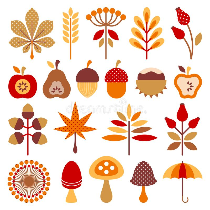 Set Graphic Autumn Icons Brown Orange Red vector illustration