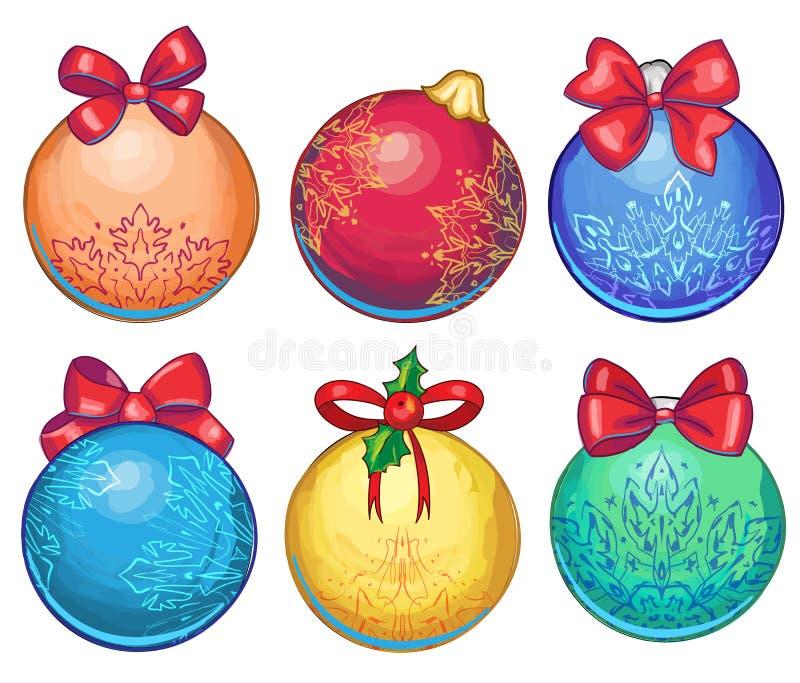 A set of graphic cartoon hand drawn christmas balls stock