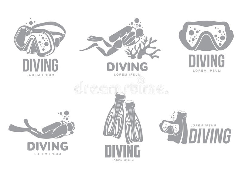 Set of graphic diving logo templates with divers, mask, flippers vector illustration