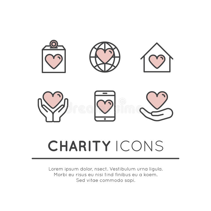 Set of Graphic Elements for Nonprofit Organizations and Donation Centre. Vector Icon Style Illustration Set of Graphic Elements for Nonprofit Organizations and royalty free illustration