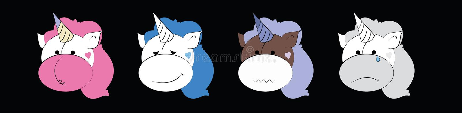A set of graphic emoticons set - unicorn. Emoji vector collection. Smile icons web. A set of graphic emoticons set - unicorn. Emoji vector collection. Smile royalty free illustration