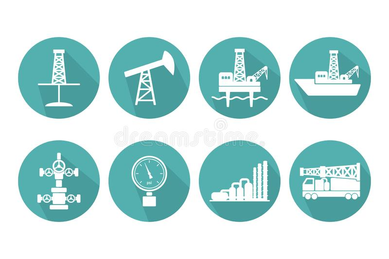 Set of graphic flat vector oil and gas icons for petroleum indus. Try: onshore and offshore drilling signs, sucker rod pump, gas processing plant, Christmas tree stock illustration