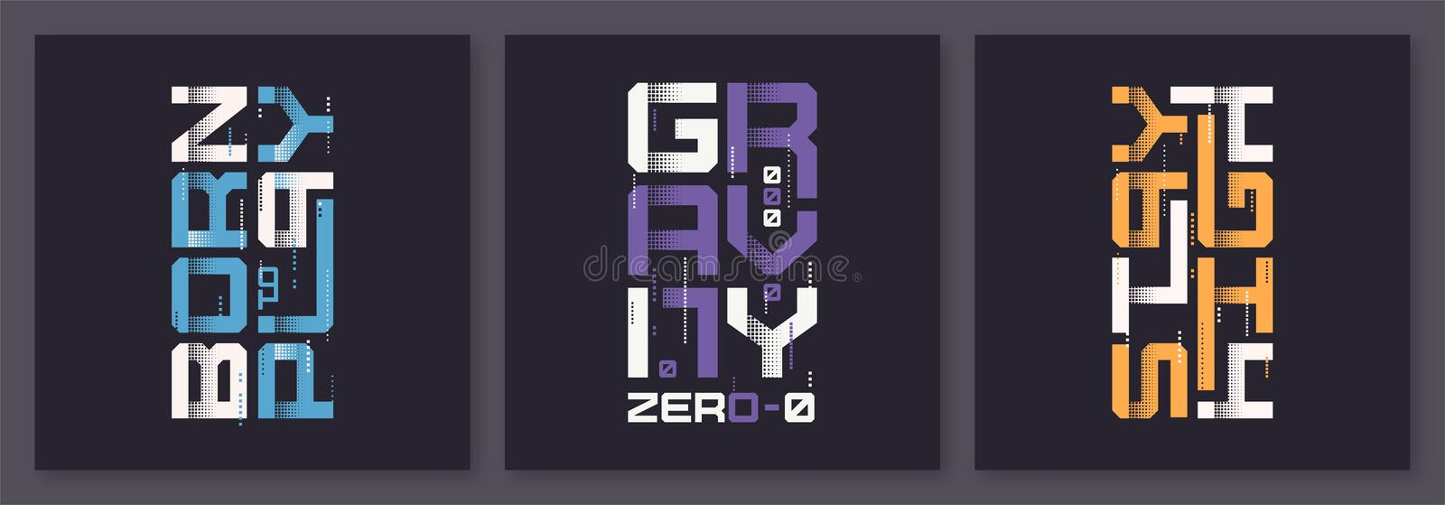 Set of graphic modern t-shirt vector designs, typography stock photography