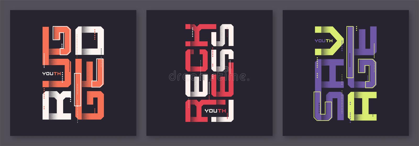 Set of graphic modern t-shirt vector designs, typography stock images