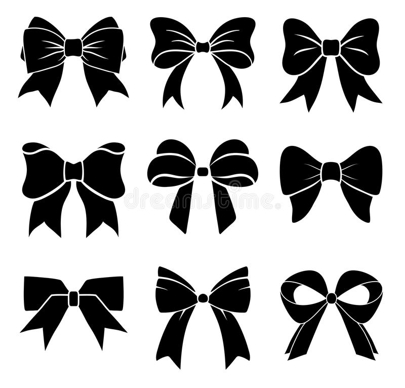 set of graphical decorative bows vector icon collection stock rh dreamstime com bow vector black and white bow vector art