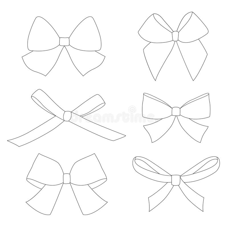 Set of graphical decorative bows. royalty free illustration