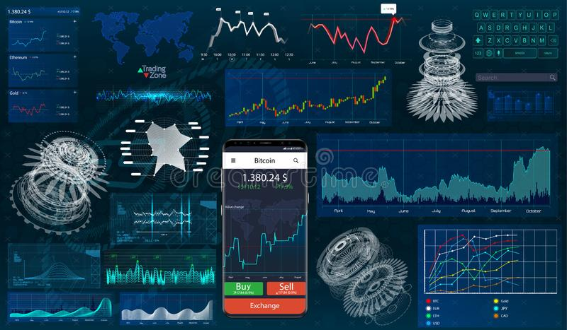 Set graphs and charts. HUD UI for business app vector illustration