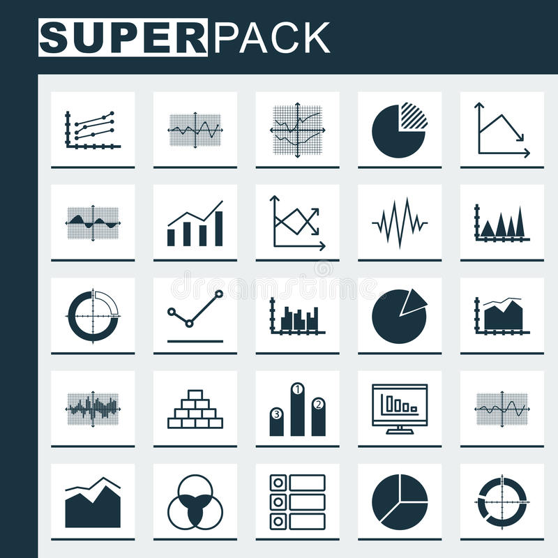 Set Of    Graphs        Diagrams    And Statistics Icons Premium Quality Symbol Collection Icons Can Be