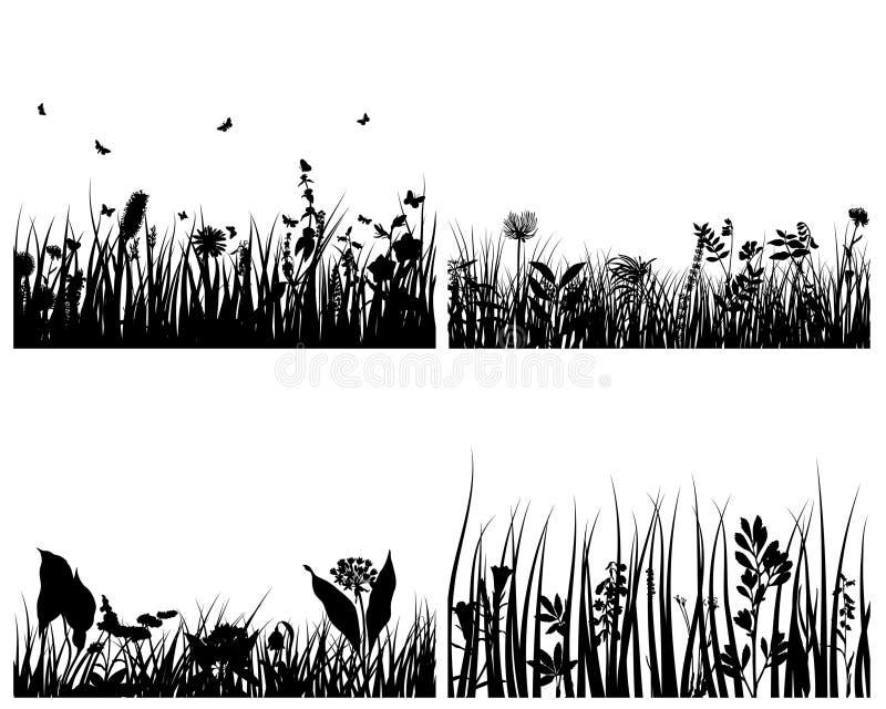 Set of grass backgrounds vector illustration