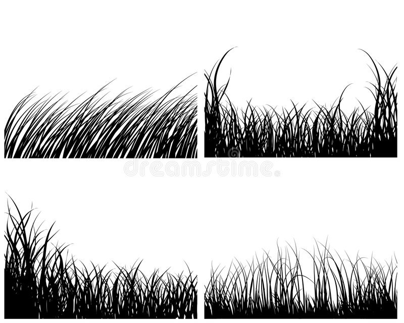 Set of grass backgrounds vector illustration