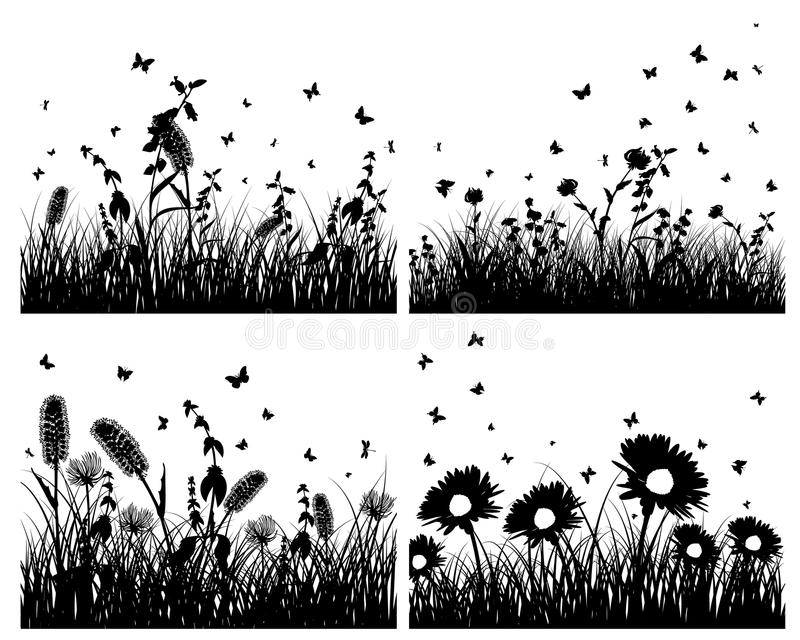 Set of grass silhouettes stock image