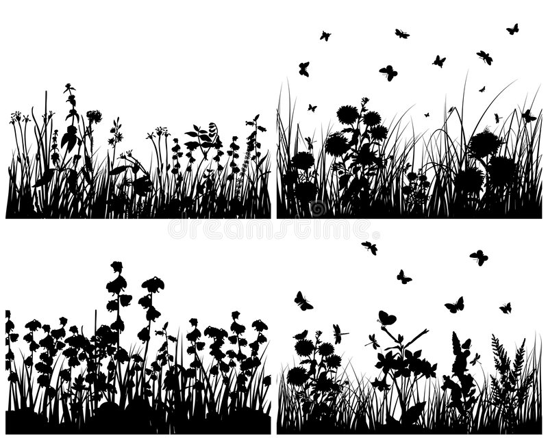 Set of grass silhouettes stock illustration