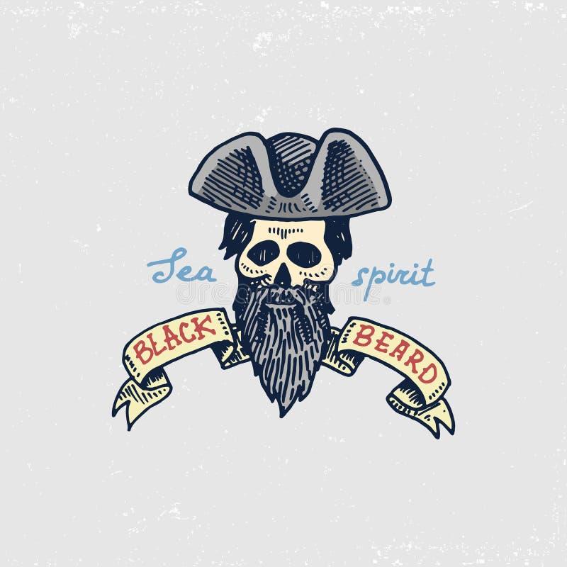 Set grawerujący, ręka, etykietki lub odznaki dla corsairs, rysująca, stara, czaszka, czarna broda Pirata żołnierz piechoty morski ilustracja wektor