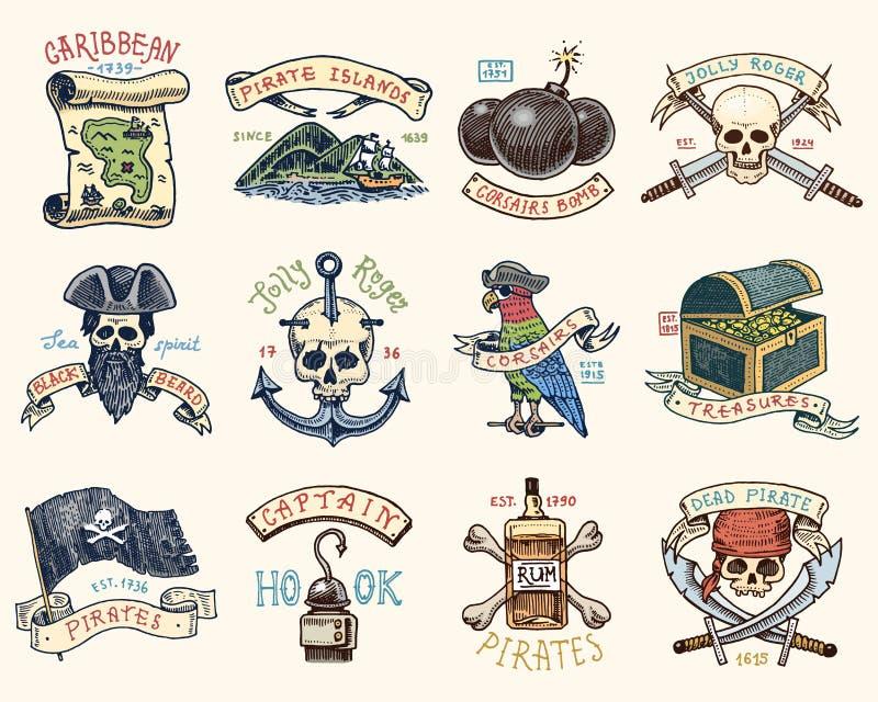 Set grawerujący, ręka, etykietki lub odznaki dla corsairs, rysująca, stara, czaszka przy kotwicą, mapa pielęgnować, czarna broda ilustracji