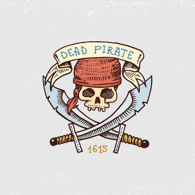 Set grawerujący, ręka, etykietki lub odznaki dla corsairs, rysująca, stara, czaszka z sabers Pirata żołnierz piechoty morskiej i  ilustracja wektor