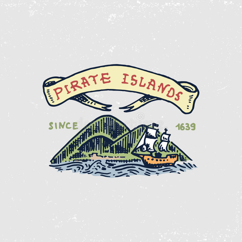 Set grawerujący, ręka, etykietki lub odznaki dla corsairs, rysująca, stara, wyspa karaibska Pirata żołnierz piechoty morskiej, na ilustracja wektor