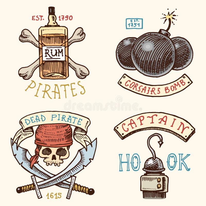 Set grawerujący, ręka, etykietki, odznaki dla corsairs, butelka rum lub kość, rysująca, stara, bomba, czaszka z sabers, haczyk royalty ilustracja