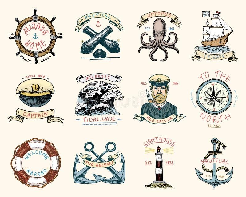 Set grawerujący rocznik, ręka, etykietki lub odznaki dla życie pierścionku, rysująca, stara, działo piłka, kapitan z drymbą ilustracji