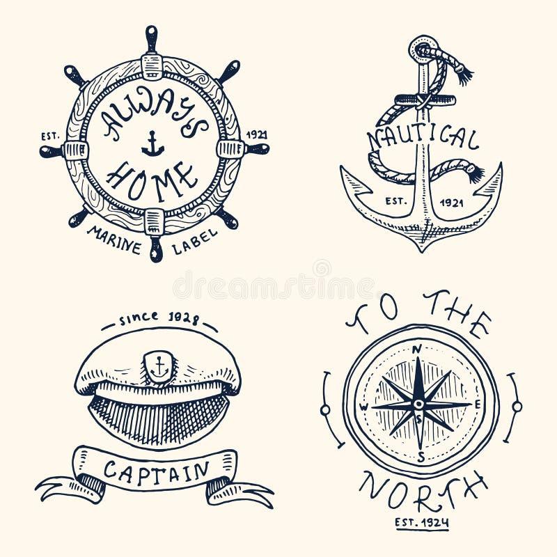 Set grawerujący rocznik, ręka, etykietki lub odznaki dla kotwicy, rysująca, stara, kierownica, kapitany nakrętka, kompas Żołnierz royalty ilustracja