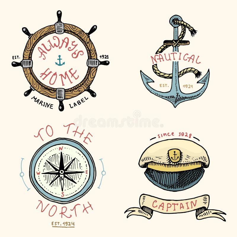 Set grawerujący rocznik, ręka, etykietki lub odznaki dla kotwicy, rysująca, stara, kierownica, kapitany nakrętka, kompas Żołnierz ilustracji