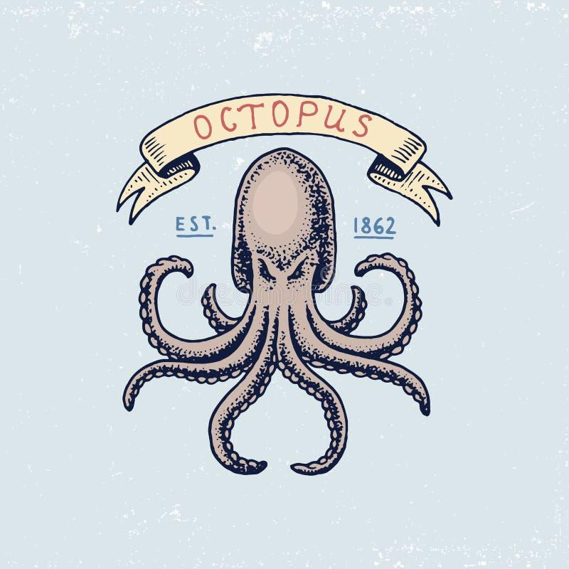 Set grawerujący rocznik, ręka, etykietki lub odznaki dla, rysująca, stara, atlantyckiej pływowej fala, ośmiornicy lub morze istot royalty ilustracja