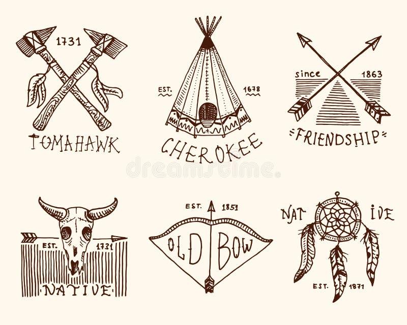 Set grawerujący rocznik, ręka, etykietki lub odznaki dla, rysująca, stara, hindusa lub rodowitego amerykanina bizon, cioski i nam ilustracji