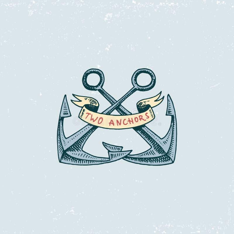 Set grawerujący rocznik, ręka, etykietki lub odznaki, rysująca, stara, powitanie aboard, dwa kotwicy Morski, nautyczny i denny ilustracji
