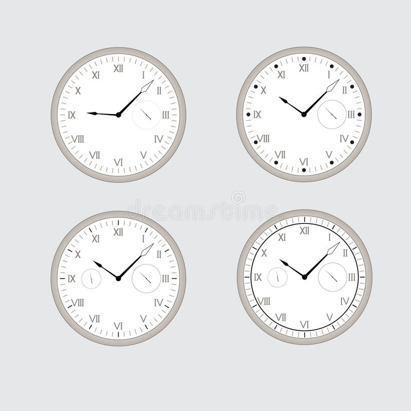 Set of gray clocks. stock illustration