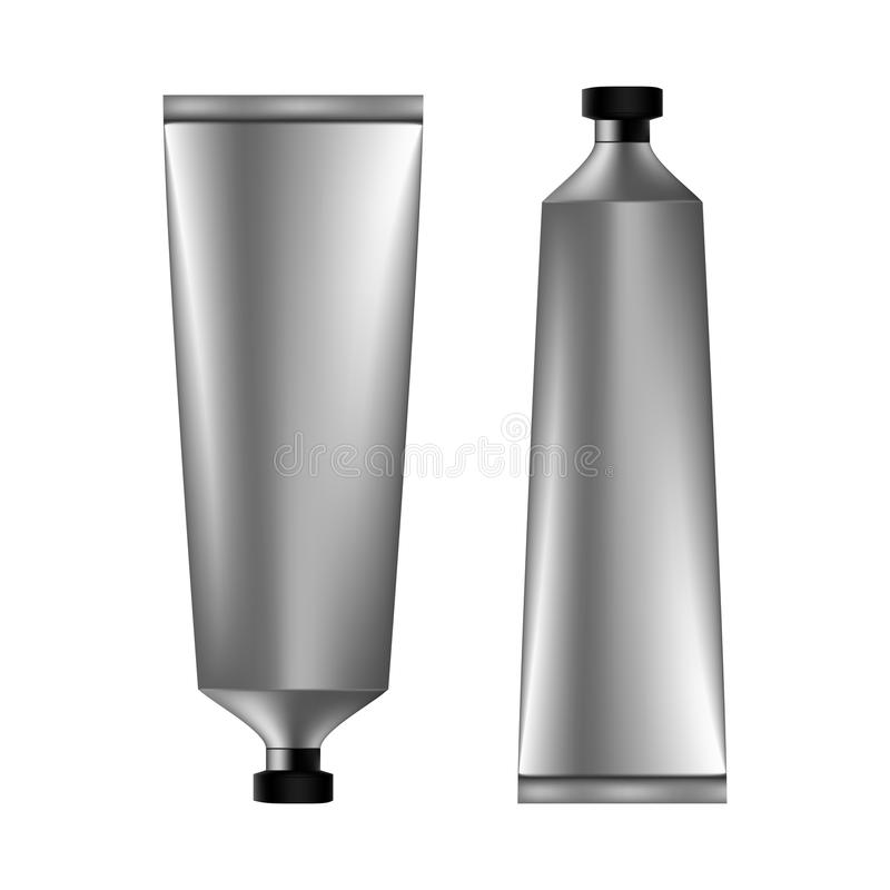 Set of gray cosmetic tube with black lid royalty free illustration