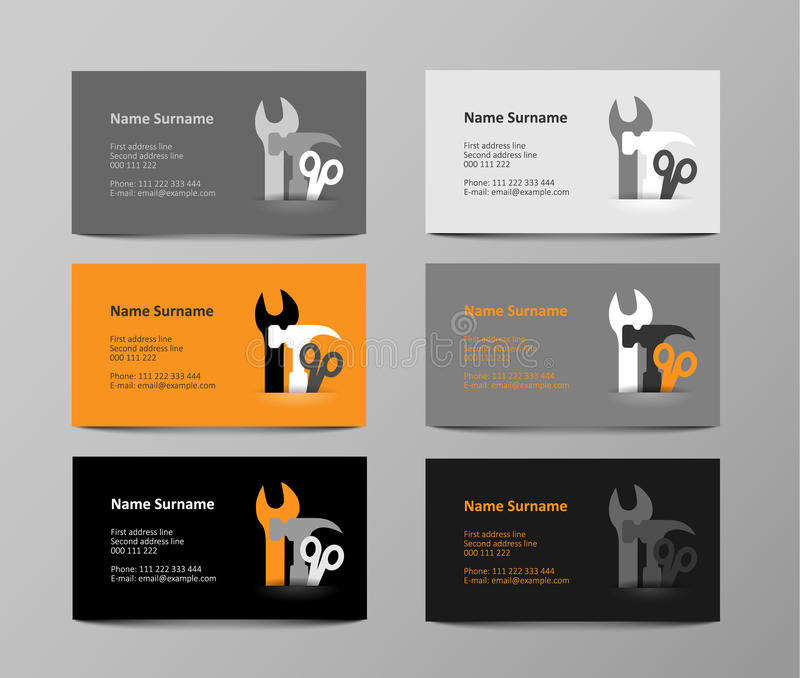 Set Of Gray And Orange Business Cards, Illustration Stock Vector ...