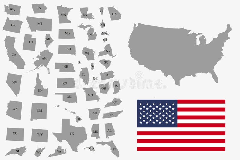 Set of gray USA states on white background - vector illustration. Simple flat map - United States. USA flag, general map and all s stock illustration