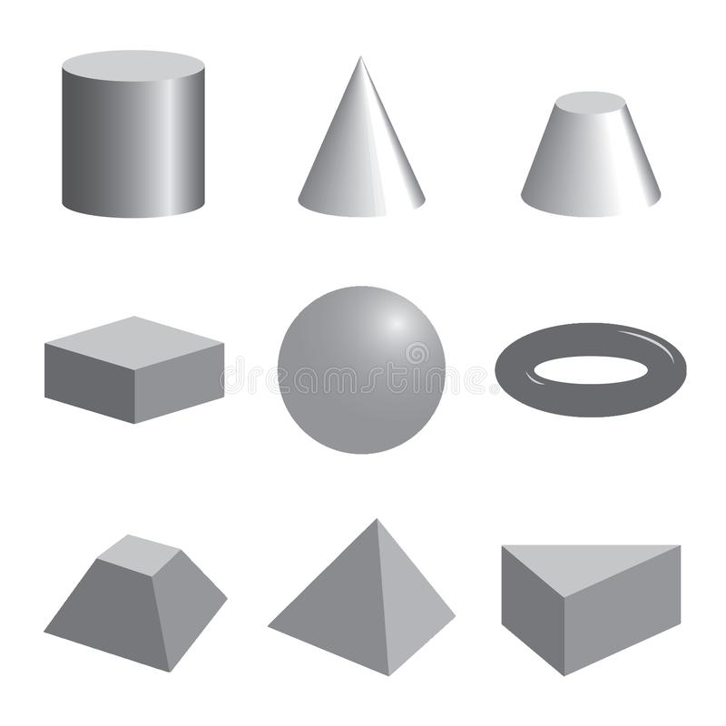 Set of gray volumetric geometrical shapes royalty free illustration