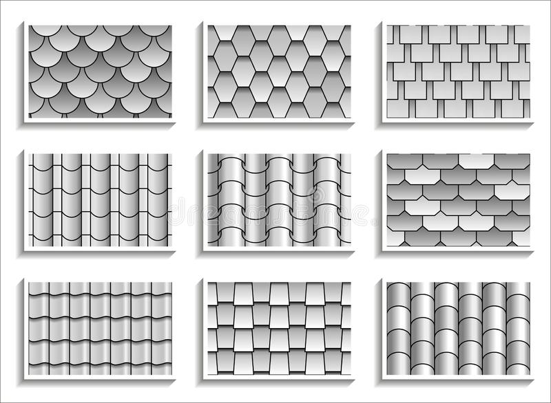 Set of grayscale seamless roof tiles textures. Black-and-white graphic patterns of rooftop materials stock illustration